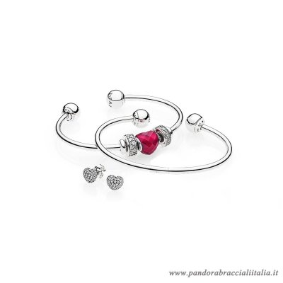 Rivenditori Pandora Be Mine Stacked Open Bangle Regalo